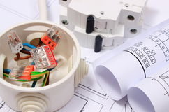 Electrical box, diagrams and electric fuse on construction drawing Royalty Free Stock Photography