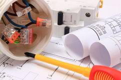 Electrical box, diagrams and electric fuse on construction drawing Stock Photo