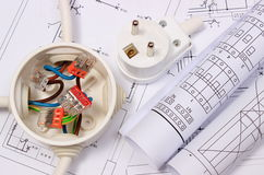 Electrical box, diagrams and electric plug on construction drawing Stock Images