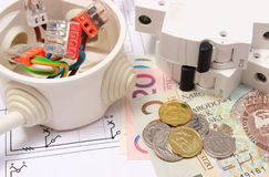 Electrical box, electric fuse and money on drawing, energy concept Stock Image