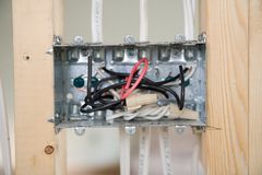 Electrical Box with wiring. During residential renovation Royalty Free Stock Images