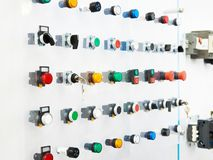 Electrical buttons switches. Samples of electrical buttons switches royalty free stock photography