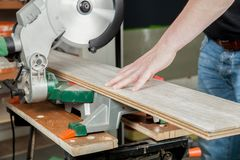 Electrical Buzz saw. A man is sawing a piece of laminate with a buzz saw Royalty Free Stock Photo