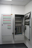 Electrical cabinet. An electrical cabinet and circuit breakers Royalty Free Stock Photos