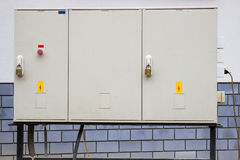 Electrical cabinet with warning signs and padlocks Stock Photography