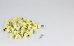 Electrical cable clips Royalty Free Stock Image