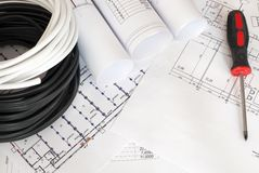 Electrical cable on the construction drawings stock illustration