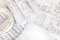 Electrical cable on the construction drawings royalty free illustration