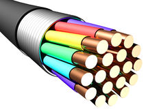 Electrical cable on white background. Close-up Stock Images