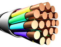 Electrical cable on white background. Close-up Stock Image