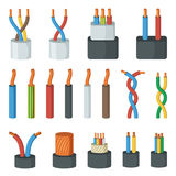 Electrical cable wires, different amperage and colors. Vector illustrations in cartoon style. Connection cable power colored for network and electricity royalty free illustration