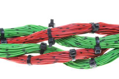 Electrical cables with cable ties Royalty Free Stock Photos