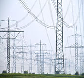 Electrical cables and poles stock photos