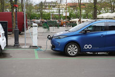 Electrical car with power supply station  in Public area in Slov. Ljubljana, Slovania - 11 April ,2017 : Electrical car with power supply station  in Public area Stock Images
