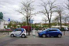 Electrical car with power supply station  in Public area in Slov. Ljubljana, Slovania - 11 April ,2017 : Electrical car with power supply station  in Public area Stock Photo