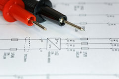 Electrical chart, troubleshoot. Troubleshoot an electrical problem using an electrical chart Stock Images