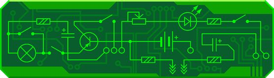 Electrical circuit of radio device resistance, transistor, diode, capacitor, inductor. Vector background royalty free illustration