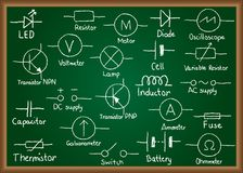 Electrical circuit symbols on chalkboard. Illustration of electrical circuit symbols drawn on chalkboard Stock Image