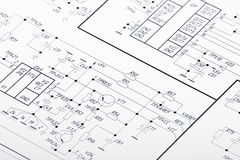 Electrical circuits. Detailed drawing of electrical circuits Stock Image