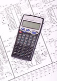 Electrical circuits and calculator. Detailed drawing of electrical circuits and calculator royalty free stock photography
