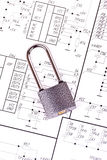 Electrical circuits and padlock Royalty Free Stock Photos