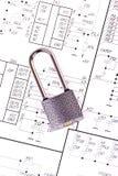 Electrical circuits and padlock Royalty Free Stock Photos