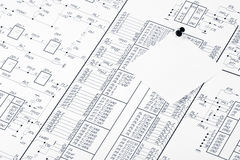 Electrical circuits and pushpin. Detailed drawing of electrical circuits and pushpin Stock Photography