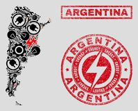Electrical Collage Argentina Map and Snowflakes and Distress Stamp Seals. Composition of mosaic power supply Argentina map and grunge stamps. Mosaic vector royalty free illustration