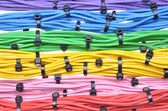 Electrical colors cables with cable ties Royalty Free Stock Photos