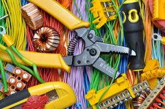 Electrical component kit and tools. Electrical component kit to use in electrical installations Royalty Free Stock Images