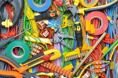 Electrical component kit and tools Stock Photos