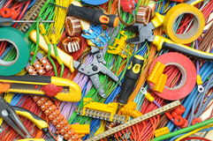Electrical component kit and tools Stock Images