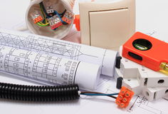 Electrical components, accessories for engineering jobs and diagrams Royalty Free Stock Photography