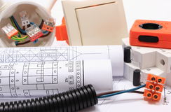 Electrical components, accessories for engineering jobs and diagrams Stock Images