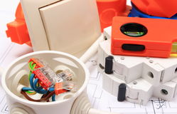 Electrical components, accessories for engineering jobs and diagrams royalty free stock photo