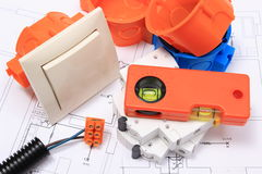Electrical components, accessories for engineering jobs and diagrams Royalty Free Stock Images