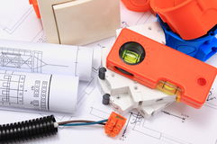 Electrical components, accessories for engineering jobs and diagrams Stock Photo