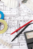 Electrical Components Arranged On House Plans Royalty Free Stock Images