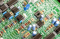 Electrical components on a control board Stock Image