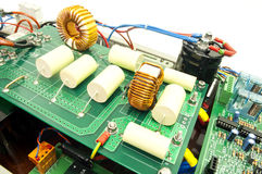 Electrical components on a control board Royalty Free Stock Photo