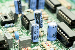 Electrical components on a control board Royalty Free Stock Image