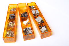 Electrical components drawers Stock Images