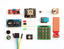 Electrical components kit for building digital devices isolated. On white. Arduino robotics parts and elements. Electronics module set Stock Images