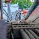 Electrical components of a tractor close up square royalty free stock photography