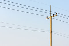 Electrical concrete post with power-lines Royalty Free Stock Photo