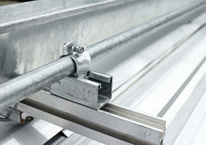 Electrical Conduit Installation on Roof Stock Photos