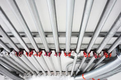 Electrical Conduit & PVC Conduit. Electric system. Industrial steel electric system and ventilation systems. Exterior wall of electrical boxes and conduit Stock Photos