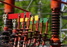 Electrical connectors RED GREEN and yellow for connection the po Royalty Free Stock Photo