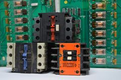 Electrical contactors and relays Royalty Free Stock Images