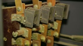 Electrical contacts in the electrical panel in the panel. Close-up stock video footage